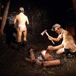 採掘の様子がわかる展示